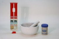 Epoxy resin, pestle and mortar and Norit