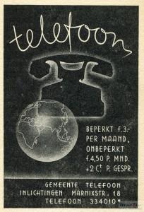 Gemeente telefoon Den Haag advertentie 1938