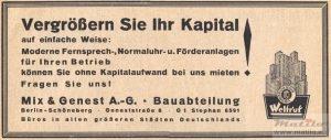 Mix & Genest advertentie jaren 30